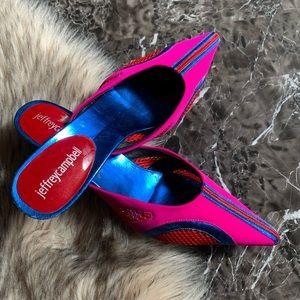 NEW Jeffrey Campbell 6.5 Mules Pink Blue